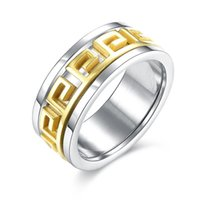 Wholesale china greek - Titanium Steel Ring Gold Greek Key Ring Band Ring Finger Rings band Cuffs for Women Men Hip Hop Jewelry Drop Shipping