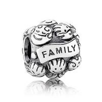 Wholesale Authentic Pandora Family Charm - Authentic 925 Sterling Silver Bead Charm Vintage Family Love Beads Fit Women Pandora Bracelet Bangle DIY Jewelry HKA3101