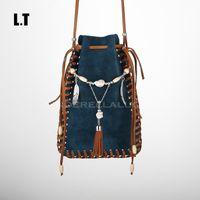 Wholesale Indian Beaded Bags - Wholesale-2016 Women Genuine Leather Shoulder Bag Handmade Etsy Vintage Fringe Tassel Beaded Indian Gypsy Bohemian Boho Feminine Small Bag