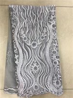 Wholesale African Swiss Voile Lace White - gray Nigerian french net lace tulle embroidered swiss voile african lace fabrics White with stones beads 5yards lot