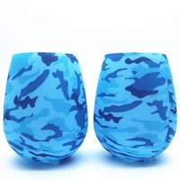 Wholesale casting art for sale - Group buy Silicone Wine Glass Colorful Camouflage Cup Outdoor Trip Portable Non Slip Anti Falling Drink Tool Multi Pattern hy F R