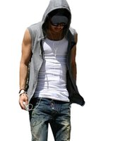 Wholesale Wholesale Polyester Hooded Jacket - Wholesale- 2016 Summer Men Casual Slim Fit Basic Hooded Jacket Sportswear Vest Waistcoat Zipper Sleeveless Hoodies Sweatshirt Streetwear