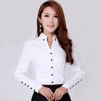 Wholesale Office Girl White Shirt - Career Fashion Lady Cotton White Shirts Plus Size S-3XL Sleeve Button Decor Clothing Girls Office Style Casual Blouses
