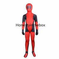 Wholesale kids deadpool costumes - Children Deadpool Costume Kids Red And Black Full Body Lycra Spandex BodySuit Child Superhero Deadpool Zentai Suit Top Quality
