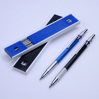Wholesale Pencils Draw - Creative Mechanical Drafting Pencil with 12 Pieces Leads School Student Drawing Metal 2.0 MM HB Standaard Pencil Stationery