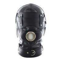 Wholesale Dog Mask Sex - Bondage Gear BDSM Restrain Full Cover Hood Mask Faux Leather Dog Slaves Mask Sex Toys For Adult Sex Game
