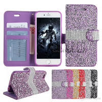 Pour iPhone 8 Galaxy ON5 Portefeuille Étui en diamant Étui iPhone 6 Étui LG K7 Stylo Bling Bling Étui en cristal en cuir PU Slot Opp Bag