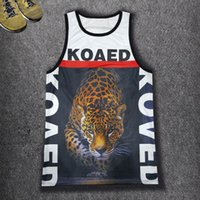 Wholesale Sexy Cheetah - Wholesale- New Men's Summer Vest Harajuku 3D KOAED Cheetah Printed Hip hop Tank Tops Men Sexy Sleeveless Mesh Casual Punk Clubwear Vest