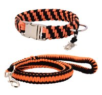 Wholesale Paracord Orange - Customized Parachute Collar And Leash Orange and Black Paracord Hand-make With Silvery Buckle and Ring For Any Dog