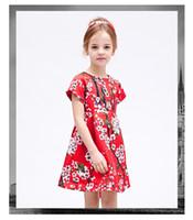 Wholesale Straight Chiffon Red Dresses - 2016 Hot Sale Vest Dresses Girl Clothes Fashion Cotton printing Lemon yellow flower Kids Dress Casual Child Princess Sundress