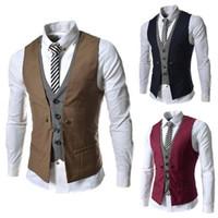 Wholesale european men business suits - Fashion Groom Tuxedos Wear Bridegroom Vests Casual Slim Vest Custom Fake Two Pieces Design Personalize Slim Fit Men Business Suits J160219