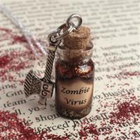 ingrosso fascini zombie-12pcs / lot Zombie Virus Bottle Collana pendente ascia fascino gioielli tono argento
