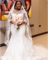 vestidos de casamento africa venda por atacado-2019 África Plus Size Sereia Vestidos de Casamento Jewel 3/4 Manga Longa Sweep Trem Ilusão Corpete Apliques de Contas Capela Do País Vestidos de Noiva