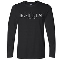 Wholesale Graphic Tops - 2017 Fashion Ballin Amsterdam T-shirts Men's Long Sleeve Cotton Black Casual O-Neck Funny Graphic Tshirts Fashion Casual Tee Top