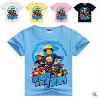 Wholesale Wholesale Fireman Clothing - Baby Clothes Boys Fireman Sam T-shirts Children Fashion Short Sleeve Tops Cartoon Cotton Shirt Auto Print Tees Casual Baby Kids Clothing K56