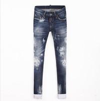 ingrosso cravatta jeans per tintura per le donne-All'ingrosso-2017 primavera e l'estate nuove donne tie dye Slim jeans di cotone era sottile micro-elastico jeans personalità piccolo buco pantaloni wj387