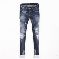Wholesale Tie Dye Jeans Women - Wholesale- 2017 Spring and summer new women tie dye Slim cotton jeans was thin micro-elastic jeans personality small hole pants wj387