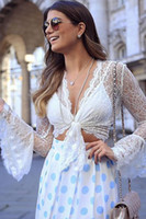 White Sheer Lace Tie-Front Crop Top 2017 Modest Mode Frauen schiere lange Ärmel Alegant Casual Party Work Lady Top Crop T-Shirt billig