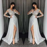 Wholesale taffeta jacket high collar - Silver Grey Long Sleeve Prom Dresses Long V Neck Appliques Lace Formal Party Gowns With High Split Modest Evening Dress