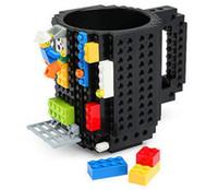 Wholesale lighted coffee cup - 10 Colors Drinkware Building Blocks Mugs DIY Block Puzzle Mug 1Piece Build-On Brick creative Mug Coffee Cup