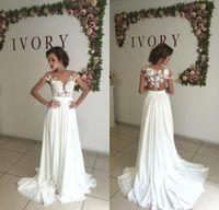 Wholesale Romantic Chiffon Dresses - Romantic Summer Lace Beach Wedding Dresses 2017 Sheer Neck Chiffon Wedding Gowns Side Slit Bridal Dress Vestido de Noiva