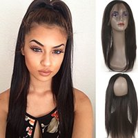 Halo Lady 8inch-20inch Straight Pre-Plucked Cheveux à fermeture éclair en dentelle 22.5 * 4 * 2 360 Round Hair Closure Virgin Peruvian Human Hair Extensions