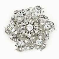 Wholesale Clear Rhinestone Crystal Vintage Diamante - Hot Selling Clear Diamante Flower Bridal Bouquet Brooch Luxury Big Flower Vintage Style Women Costume Pins Brooches High Quality