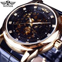 Wholesale Diamond Mens Wrist - Winner Royal Diamond Design Black Gold Watch Montre Homme Mens Wrist Watches Top Brand Luxury Relogio Male Skeleton Mechanical Watch