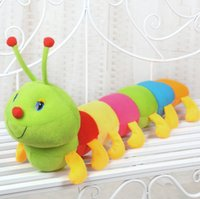 Wholesale Caterpillars Plush - 50CM 19.6 inches Colorful Caterpillars Millennium Bug Doll Plush Toys Baby Kids Large Caterpillar Hold Pillow stuffed Doll children gifts