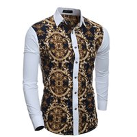 Wholesale New Trendy Clothes - New Trendy Leisure Man Dress Shirts Long Sleeve Single-breasted Dress Shirts Men Slim Spring Fall Clothing Fashion Printing Tops M-XXL