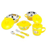 Cute Stainless Steel Children Tableware Set Baby Bowl Container Comida Set De Comer Lovely Learning Dishes Spoon Fork Bowl Set