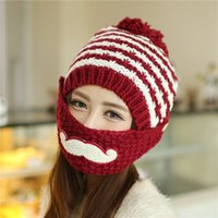 Wholesale Knitted Beard Ski Mask - 2018 children of Han Banchao beard wool hats knitted hat in autumn and winter warm mask cap cashmere ear muff knitted hat