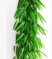 Wholesale Bamboo Wall Hangings - 200pcs Green Willow Rattan Wicker Bamboo Branch Leaf Simulation Leave Vine Hanging Home Decoration Artificial Flowers 180cm 20Pcs Leave