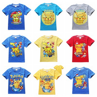 cotton organic cotton t shirts wholesale - 9style can mix cm Poke mon Pikachu t shirt Kids Girls Boys tops tees Poke mon Go Kids clothing Tracksuit Clothing Set For summer
