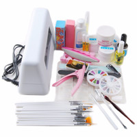 Wholesale Led Uv Gel Topcoat - Wholesale- New 9W UV Nail Art Pro DIY Full Set Led UV Gel Polish Manicure File Topcoat Cleanser Curing Lamp Kit Set