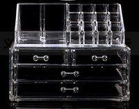 Wholesale Clear Organizer Drawers - Wholesale- Cosmetic Cases Clear Acrylic Cosmetic Display Makeup Organizer Box Case 2 Storage Drawer Holder Make Up Storager Boxes
