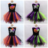Wholesale Colour Matching Clothes - Little Gilr's Holloween Cosplay Color Match Tutu Skirts Vest Set Kids Festival Costumes children clothing top quality