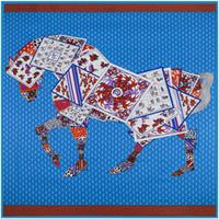 Wholesale Scarves Horse Design - Wholesale-130cm*130cm 100% Silk Euro Brand Style Women Poker Joint Horse Leopard Silk Square Scarf Femal Spring New Fashion Design Shawls