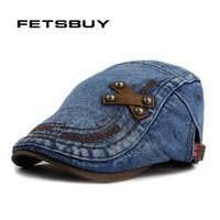 Wholesale Hats Jeans Caps - Wholesale-FETSBUY Fashion Spring Summer Jeans Hats for Men Women Quality Casual Unisex Denim Beret Caps OutDoors Flat Sun Cap for Cowboy
