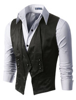 Wholesale Chaleco Slim Fit - Wholesale- 2016 Tailor Made Black Double Breasted Vests For Men Slim Fit Suit Waistcoats Coletes High Quality chaleco hombre colete social