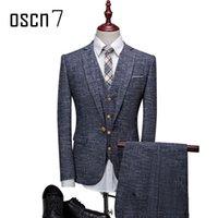 Wholesale Slim Fit Business Suits - Wholesale- OSCN7 3 Pcs Linen Plaid Suit Men Slim Fit Leisure Business Wedding Dress Suits for Men Terno Masculino Tuxedo Costume Homme
