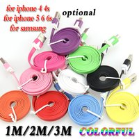Wholesale Noodle Pin Usb - 100pcs lot 1M 2M 3M 30 pin colorful flat noodle usb sync and charge cable for iphone 4 4s 3gs for ipad 2 3 4