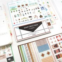Vente en gros- 9Sheets / Lot Cute Iconic DIARY DECO PACK Kawaii Sticker Planner Stickers Note Sticker Message Sticker Papeterie