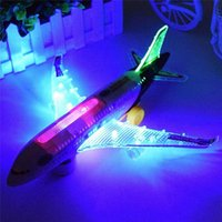 Wholesale Model Airplane Lights - Light Universal Airbus A380 Plane Model Flashing Sound Electric Airplane Children Kids Toys Gifts Automatic Steering