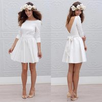 Wholesale Cheap Sexy Mini Wedding Dresses - White Short Informal Wedding Dress With 3 4 Sleeve Simple Cheap Mini Reception Bridal Gowns Sexy 2017 Open Back Bride Wedding Party Dresses