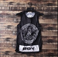 Wholesale Boys Size Tank Tops - Wholesale- men tank tops fashion street new boys dark series casual loose promotion hiphop skull 23 star plus size 5XL 4XL european