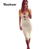 Wholesale Celebrity Bandage Dresses Wholesale - Wholesale- Sexy club dress 2017 New Women Spring White Bandage Dress Celebrity Sleeveless Deep V-neck Slim Hollow Out Party Dresses