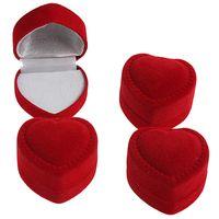 coeurs rouges de velours achat en gros de-En gros 24 Pcs Romantique Fiançailles Rouge Velours Valentin Anniversaire Coeur Forme Bague Cadeau boîtes