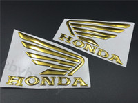 Wholesale 3d Motorcycle Tank - Gold 3D Wing Decals For Honda Fuel Tank Emblem 3M Stickers Custom Motorcycles