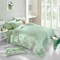 Wholesale Natural Silk Comforter Bedding Set - Chinese style 100% natural Tencel silk rural plant butterfly green dream 4pcs comforter duvet cover bedding set Queen King 3598